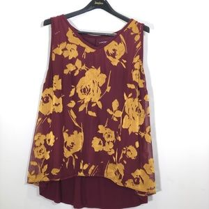 Lane Bryant Maroon and Gold Floral Tank